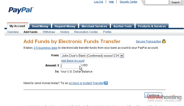 paypal how to add money to your account