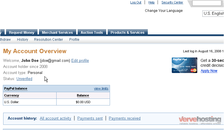 paypal business account login