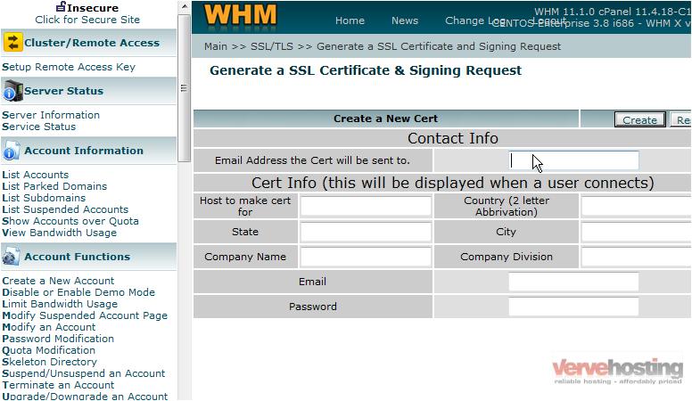 Generating And Installing Ssl Certificates Verve Hosting Support