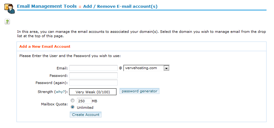 Managing your email accounts in cPanel - مرکز آموزش - Verve Hosting